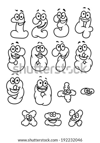 Cartoon digits and numbers set with positive emotions. Vector version also available in gallery - stock photo