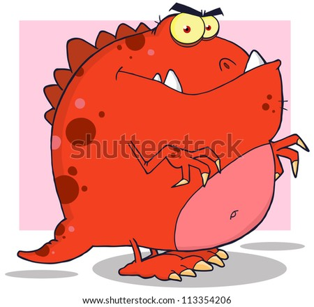 Cartoon Dinosaur. Raster Illustration.Vector version also available in portfolio. - stock photo