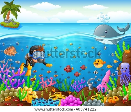 cartoon diver under the sea - stock photo