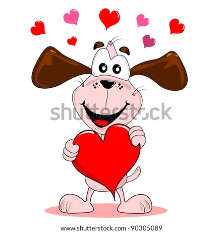 Cartoon dog holding a large red love heart