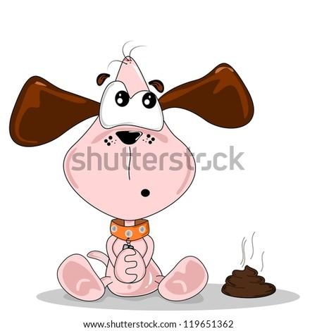 Cartoon dog sitting next to a pile of dog dirt - stock photo