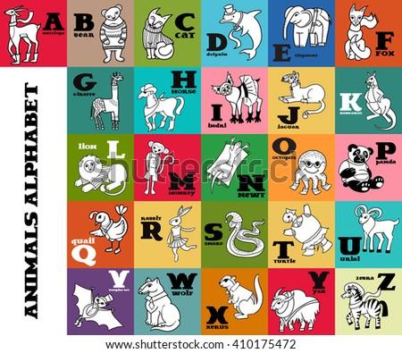 Cartoon Doodle Animals Alphabet Poster