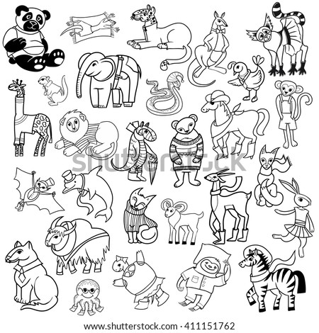 cartoon doodle animals big set