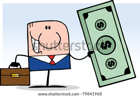 Cartoon Doodle Businessman Holding Dollar