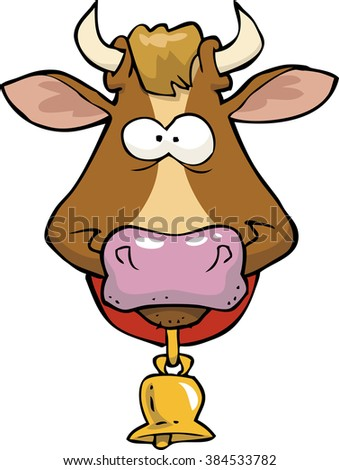 Cartoon doodle cow head on a white background raster version - stock photo