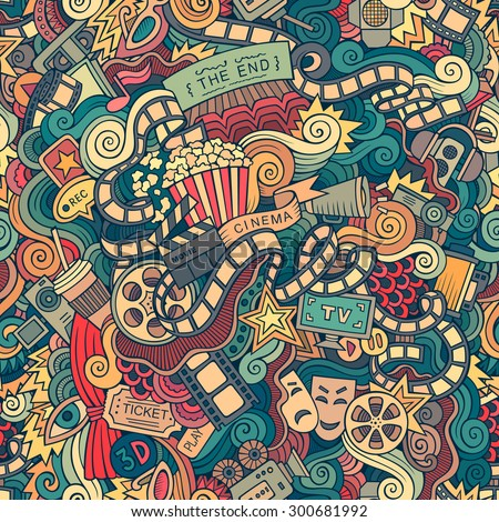Cartoon doodles hand drawn cinema, movie, film seamless pattern. Endless background - stock photo