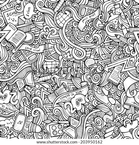 Cartoon doodles hand drawn school seamless pattern - stock photo