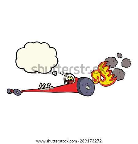 cartoon drag racer with thought bubble - stock photo
