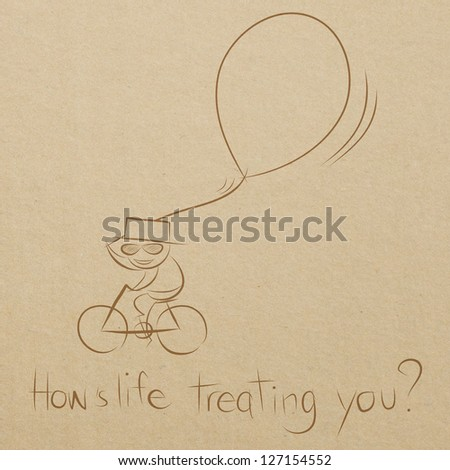 cartoon drawing of a man happy riding bicycle with a big balloon - stock photo