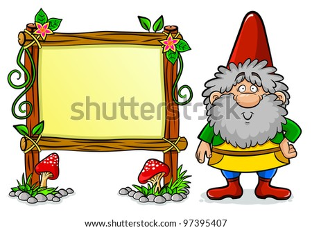cartoon dwarf standing next to a blank message board (raster version of vector) - stock photo