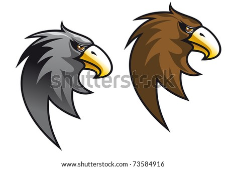Cartoon eagle symbol isolated on white for tattoo or another design - also as emblem or logo template. Vector version also available in gallery - stock photo
