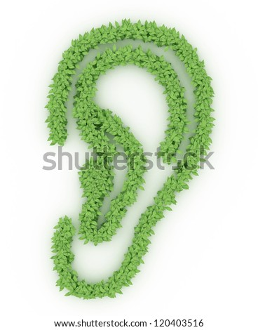 cartoon ear icon made from leaves isolated over whited