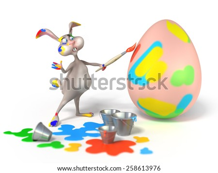 Cartoon Easter Bunny as abstract artist is painting on a egg on white background. Holiday  3d illustration - stock photo