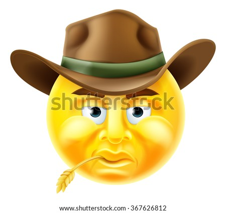 Cartoon emoji emoticon cowboy smiley face character - stock photo