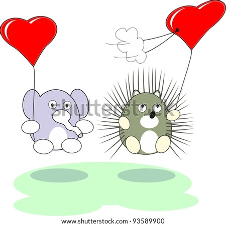 Cartoon enamored baby elephant and hedgehog toy with red heart balloons in love - isolated illustration,  white background - stock photo