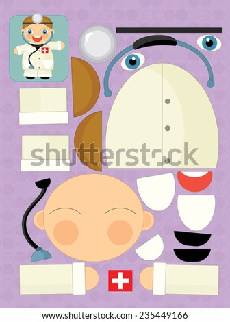 Cartoon exercise with scissors for childlren - doctor - illustration for the children - stock photo