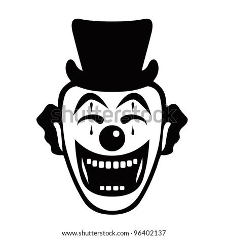 Cartoon Happy Face Black And White Cartoon Face of a Happy Clown