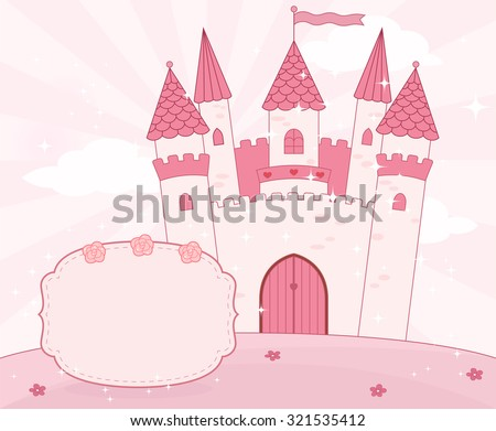 Cartoon fairy tale castle background with place for text.  Raster.