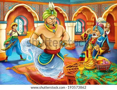 Cartoon fairy tale - illustration for the children - stock photo