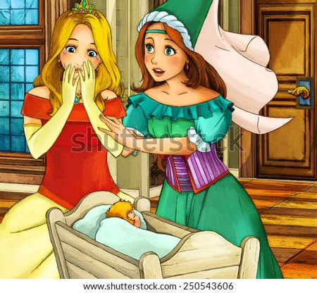 Cartoon fairy tale scene - coloring page - illustration for the children - stock photo