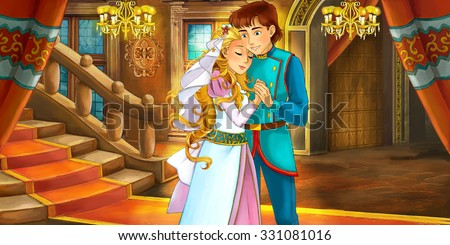 Cartoon fairy tale scene - with prince and princess - marriage - illustration for the children - stock photo