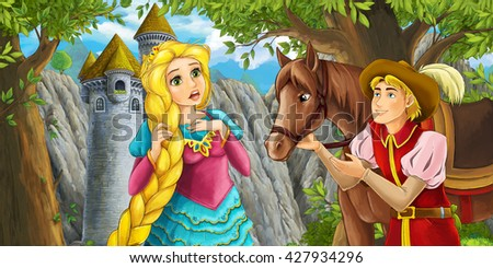 Cartoon fairy tale scene with prince encountering hidden tower and princess - illustration for children - stock photo