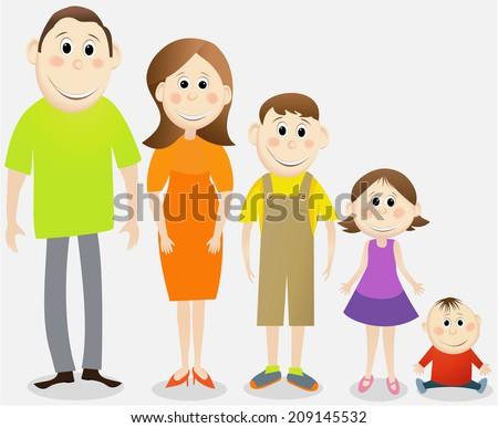 Cartoon family - stock photo