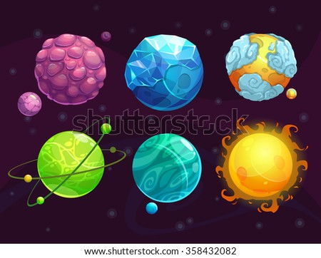 Cartoon fantasy alien planets - stock photo