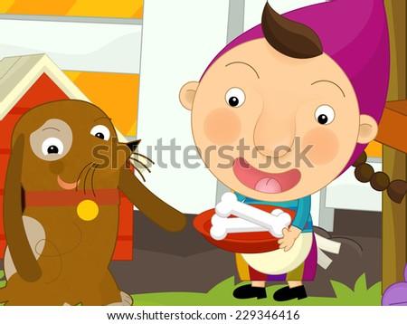 Cartoon farm scene - girl feeding the dog - illustration for the children - stock photo