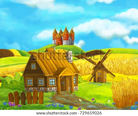 Cartoon farm scene of traditional village with castle in the background - for game or book - illustration for children