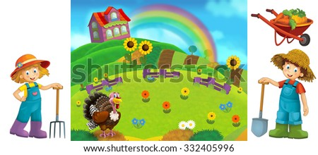 Cartoon farm scene with isolated elements for individual composition - illustration for the children - stock photo