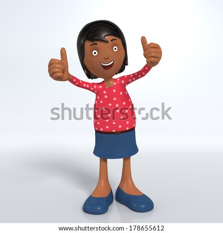 Cartoon female Asian professional office worker in skirt showing thumbs-up - stock photo