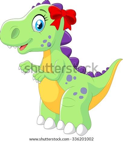 Cartoon female dinosaur isolated on white background - stock photo