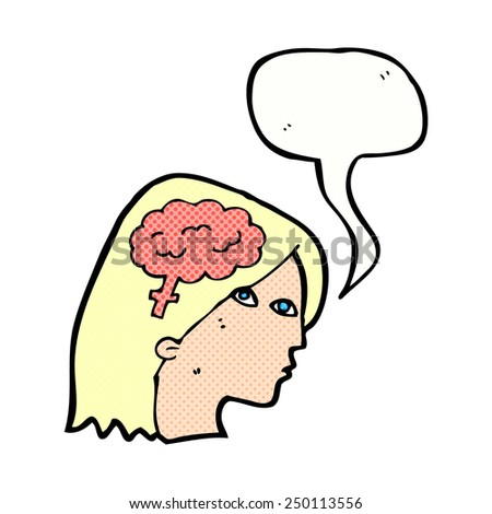 cartoon female head with brain symbol with speech bubble - stock photo