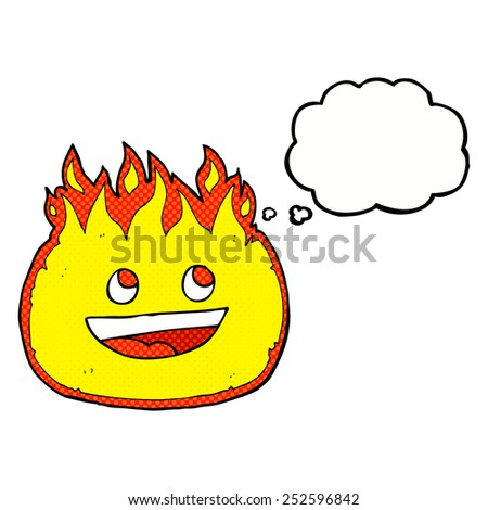 cartoon fire border with thought bubble