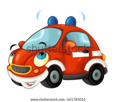 Cartoon fire brigade car - isolated - illustration for children