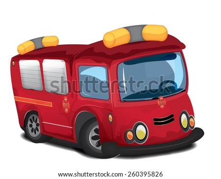 Cartoon fire engine, this is a cartoon style bright red fire engine. - stock photo