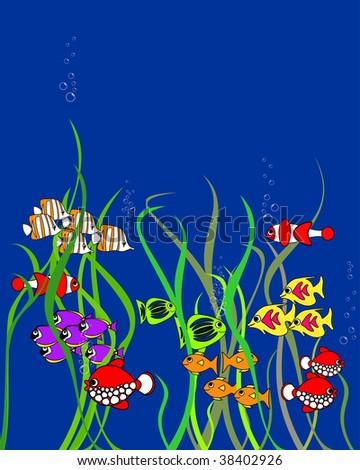 Cartoon fishes with space for your text. For vector see my portfolio. - stock photo