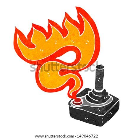 cartoon flaming joystick - stock photo