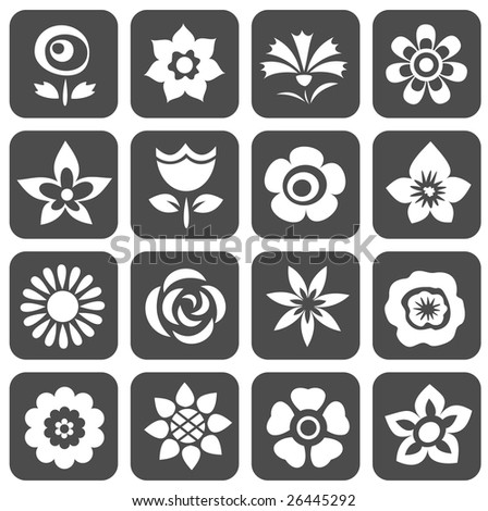 Cartoon Flowers Symbols Set On Dark Stock Illustration 26445292