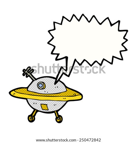 cartoon flying saucer with speech bubble - stock photo