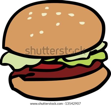 Cartoon food illustration of a hamburger with bun - stock photo