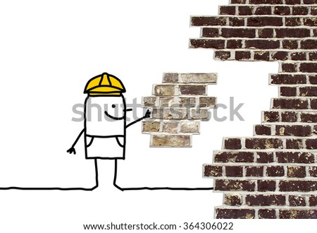 cartoon foreman holding a missing piece for a wall - stock photo