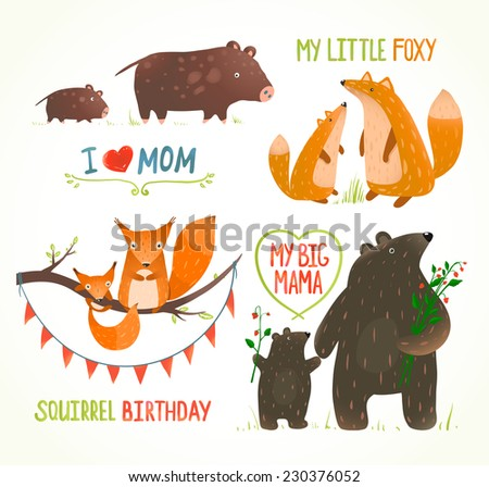 Cartoon Forest Animals Parent with Baby Birthday Party Cards. Brightly colored childish animals. Mothers and children. Raster variant. - stock photo