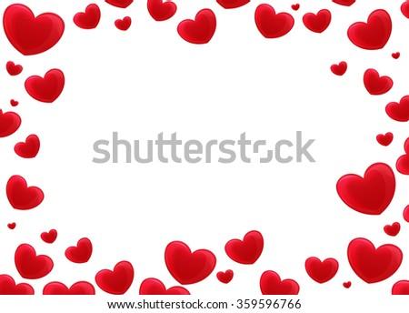 Cartoon frame - hearts - illustration for the children - stock photo