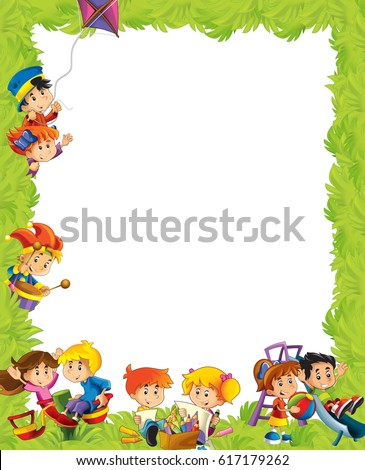 Cartoon Frame Children Having Fun Playing Stock Illustration ...