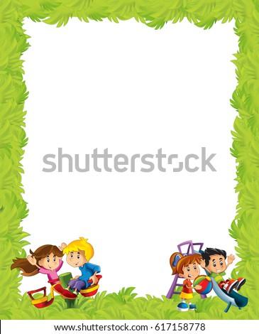 Cartoon Frame Children Playing On Playground Ilustración de ...