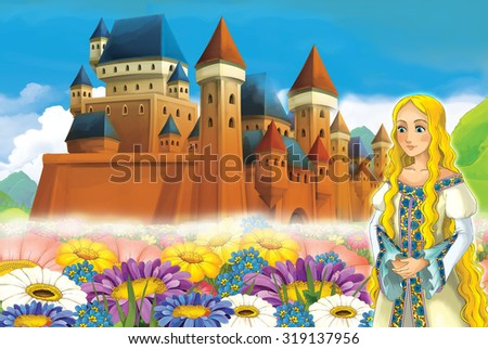 Cartoon frame with princess - illustration for the children - stock photo