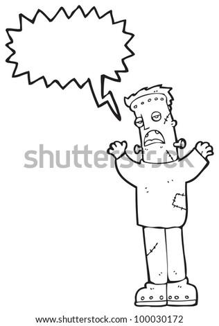 cartoon frankenstein monster - stock photo