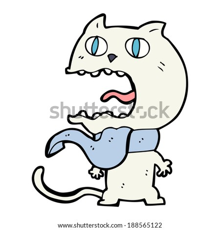 cartoon frightened cat
